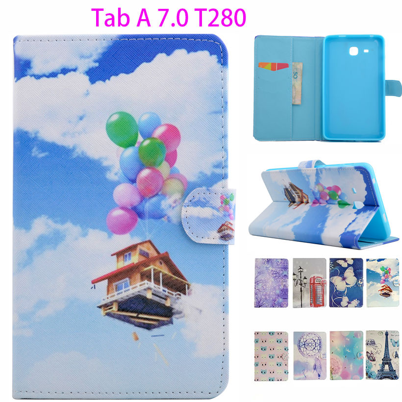 2016 Painted PU Leather Case For Samsung Galaxy Tab A a6 7.0 inch T280 T285 SM-T280 Cover Cases Tablet Funda protector Shell baellerry top pu leather men wallets and purses coin purse man famous small short portomonee mini male purses card holder walet