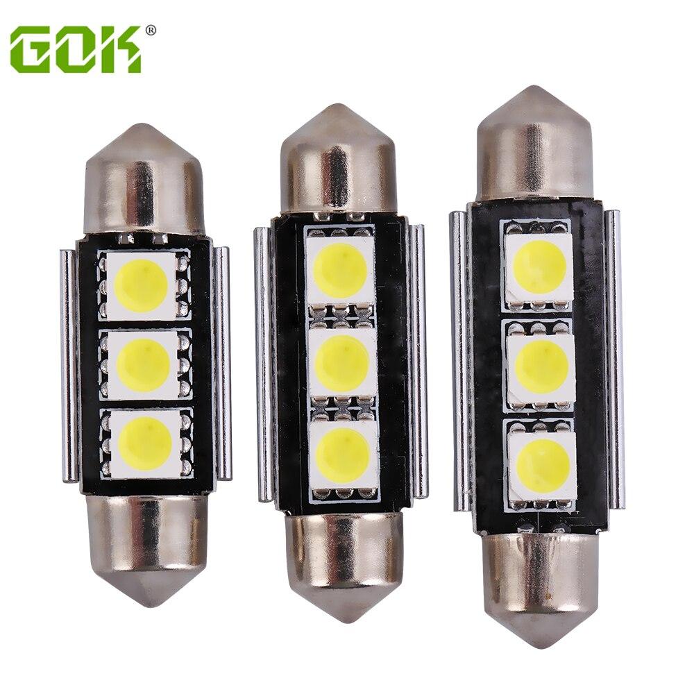 Супер яркий! 10 шт./лот гирлянда 3smd 36 мм 39 мм 41 мм Canbus <font><b>LED</b></font> 5050 SMD автомобилей гирлянда светодиодная лампа для чтения лампы белый шарик