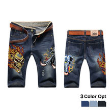 цены Men Boy Short Jeans Skinny Hole Ripped Retro Destroy Pants Denim Straigh Trousers Print Design Beach Hip Hop Skate Pants Skull