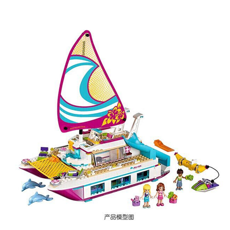 Lepine 01038 Friends Girl Series 651pcs Building Blocks toys Sunshine Catamaran kids Bricks toy girl gifts Compatible YHG027 632pcs building blocks snow resrot ski lift girls toys kids bricks toy girl gifts compatible lepins friends diy model toys