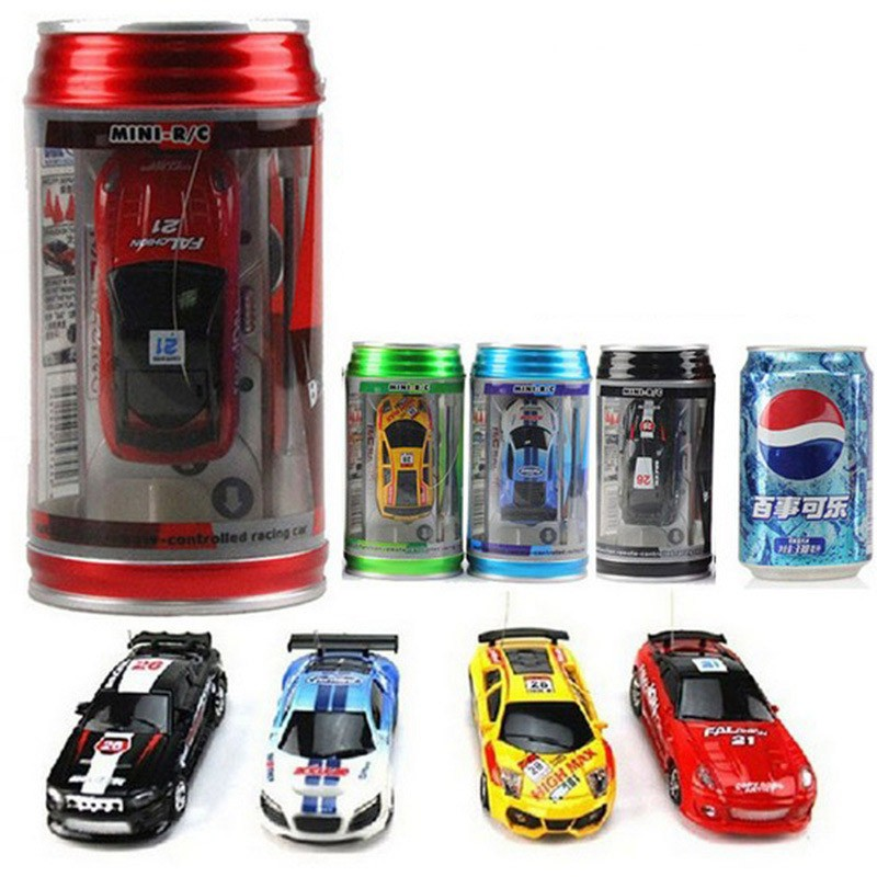 Hot 1:58 Radio Remote Control Racing Vehicle Kids Toys High Speed Mini Coke Can RC Car for Children Xmas Gift with Road Blocks 2017 new rastar kids toys rc car 1 14 racing version genuine remote control car toys for children m3 48000 hot sale ree shipping