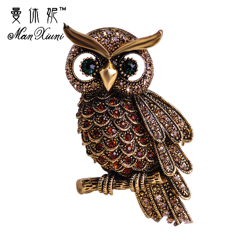 Vintage Owl Brooch Corsage Scarf Clip Crystal Parrots Brooches Lapel Pin Broches Jewelry for Women Lady Sweater Hats Buckles