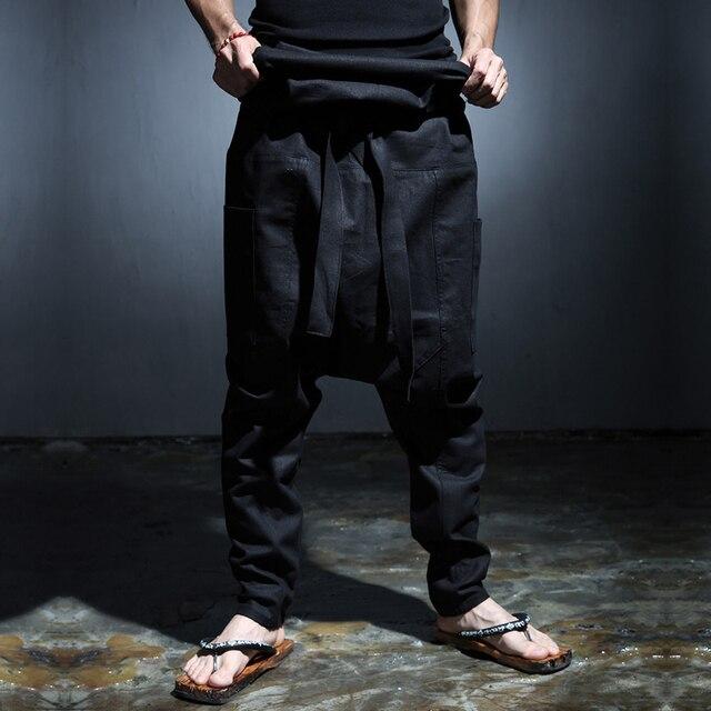 Dos Homens originais de Moda de Cintura Alta Low Crotch Harem Pant Casual com Bolsos Preto Exército Verde 2016 Nova
