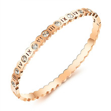 Fashion Roman Number Bangle Punk Couple Bracelets Rose Gold Sliver Color Bangles For Women Stainless Steel Zircon Jewelry Gifts