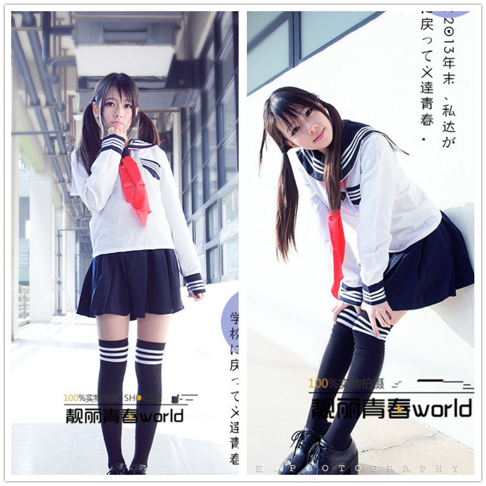 New Japanese High School Girl Sailor Cosplay Costume Dress White Free -5722