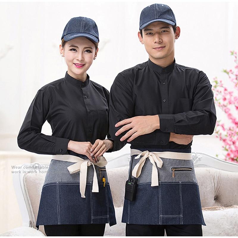 2017 Novos Aventais Com Bolsos Denim Metade do Corpo Café Cowboy Unisex uniforme Garçom Aventais para Mulher Homens do Chef de Cozinha Cozinhar WQ038 - 2