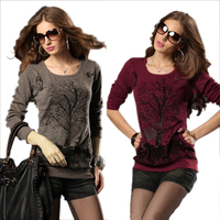 Plus Size Clothing Spring Fashion Large Size Pullovers Sweater Women New 2014 Loose Knitwear Shirt Long