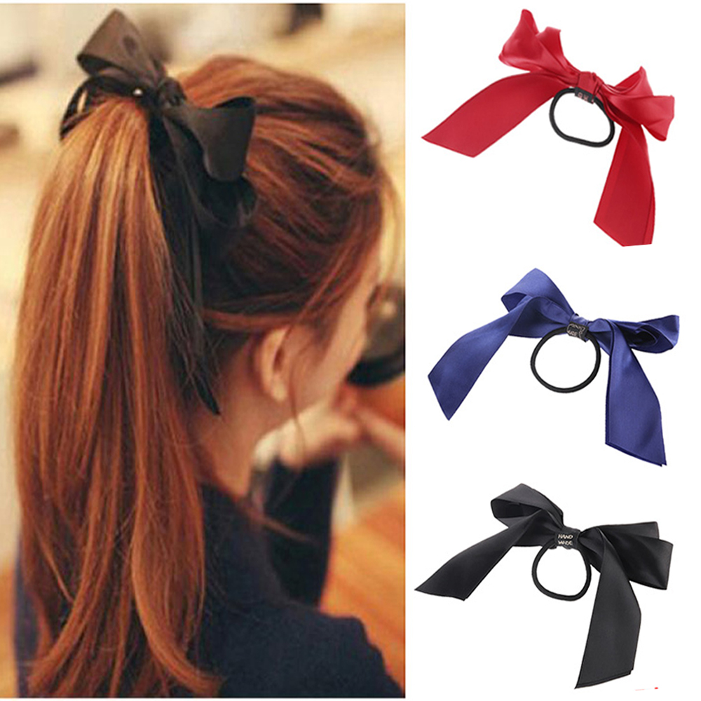Gentle M Mism 3 Pairs Bow Tie Elastic Hair Rubber Bands British Style Lattice Stripe Bowknot Scrunchy Ponytail Holders For Women Girls Accessories Hair Accessories