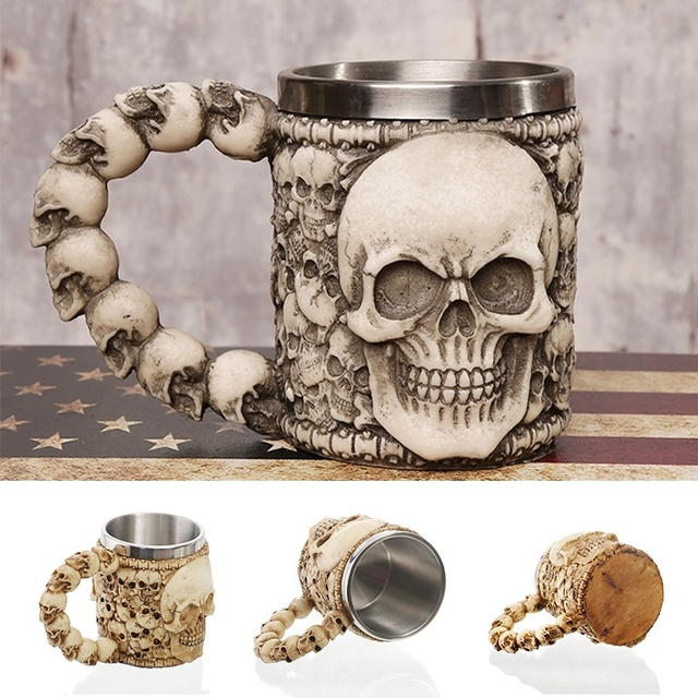 1Pcs 3D Axe ePacket Handle Viking Warrior 450ML Skull Mug Gothic Tankard Halloween Decoration Skeleton Cup Beer Stein Man Gift 3