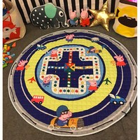 1.5m Round Dark Blue Kids Play Mats Storage Bag Carpet Rugs Large Canvas Rawling Mat Portable Game Toys Sundries Pouch Gift
