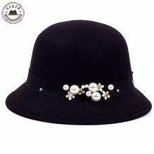 Da forma Do Vintage Formais Fedora Sombrero Chapeau chapéu cloche senhoras Elegantes  mulheres Moda inverno preto 5aab24bb883
