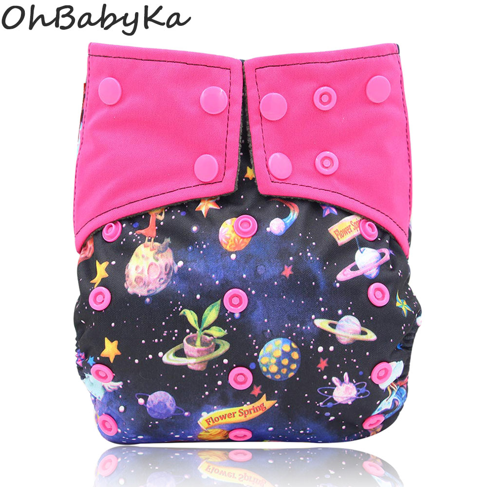 Ohbabyka All-in-one AIO Newborn Cloth DiaperSewed In Charcoal Bamboo Insert And Suede Pocket Diapers Waterproof Baby Nappies