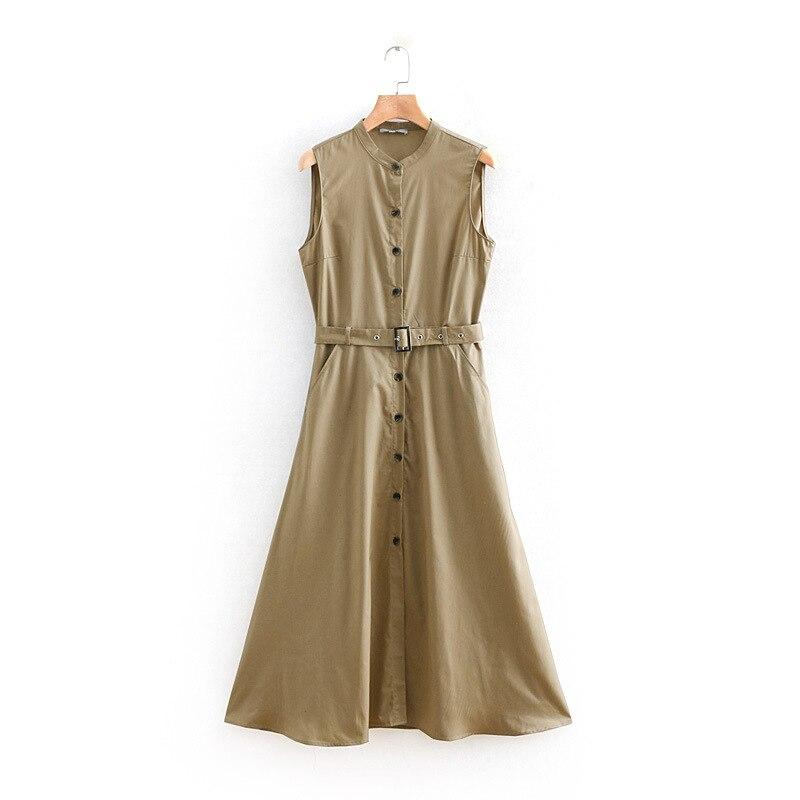O Neck Sleeveless Sashes Long Dress