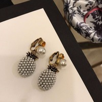 Luxury Brand Fashion Vintage Clip Earrings Cute Pineapple Pearl Jewelry For Women Without Pierced Ear High Quality Bijoux