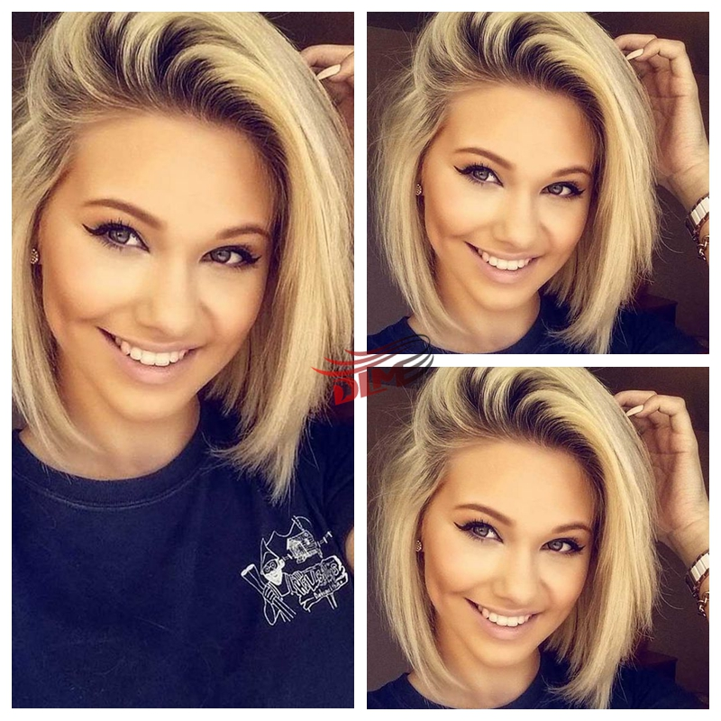 Fashion Natural Dark Roots Ombre Blonde Short Bob Lace Front Wigs Beyonce Hai