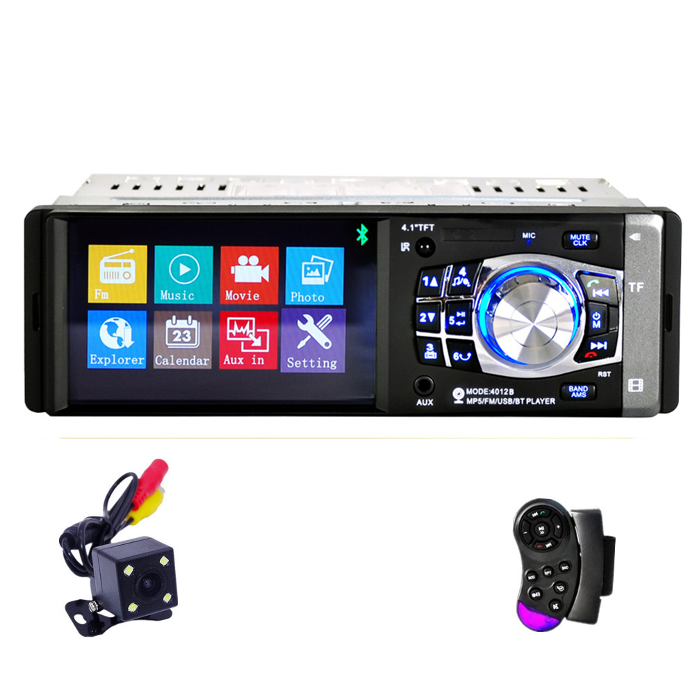 Fonwoon Autoradio 1 Din Car Stereo Bluetooth Central Multimedia Player 4 inch TFT Display Car Radio USB AUX SD Reversing camera image