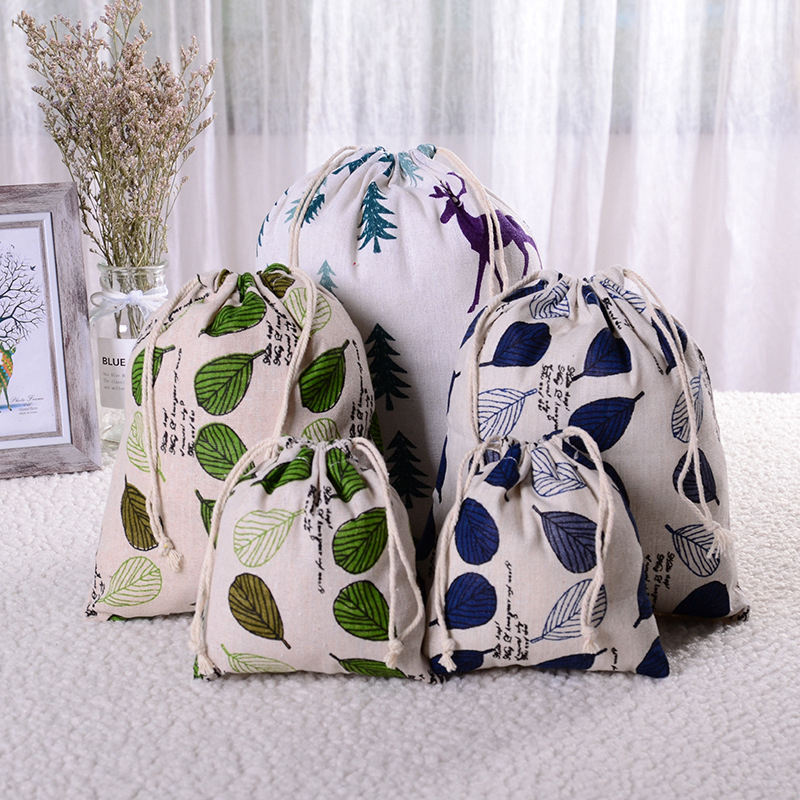 Travel Accessories Fresh Cotton Linen Drawstring Makeup Bag Cartoon Deer Packing Organizer Toiletry Sundries Storage Gift Pouch