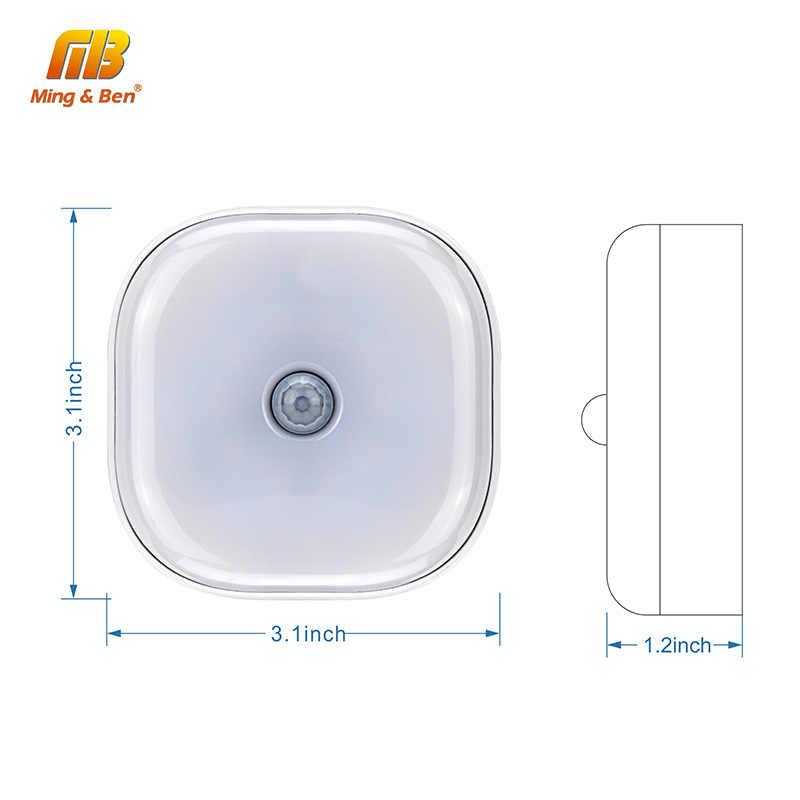 СВЕТОДИОДНЫЙ Светильник-ночник с датчиком движения, Круглый квадратный настенный светильник с активированным PIR датчиком, автоматическое выключение, работающий от батареи, для спальни, кухни