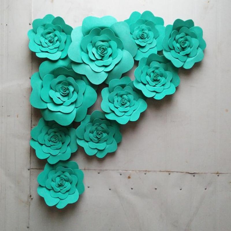 Antecedentes de la boda 10pcs Conjunto Teal Cartón hecho a mano Flor - Para fiestas y celebraciones