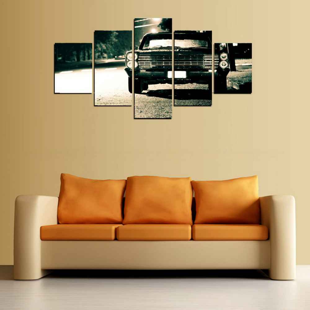 5 Panels Canvas Print Old Black Car Painting On Canvas Canvas Wall ...