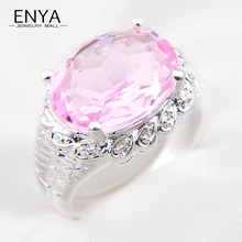ENYA Oval Ring Holiday Gift New Collection Silver Plated Honey Pink Stone Ring Cubic Zirconia Crystal Ring For Women Jewelry