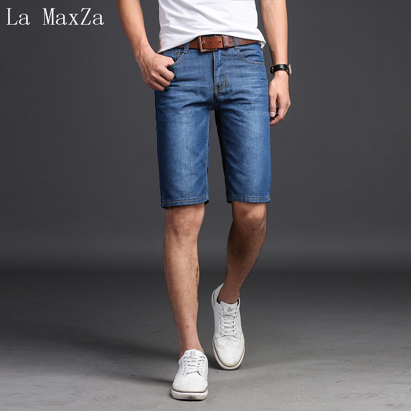 Biker Jeans Men High Quality Denim Short Men Jeans Straight Pure Color Pants Men Short Jeans
