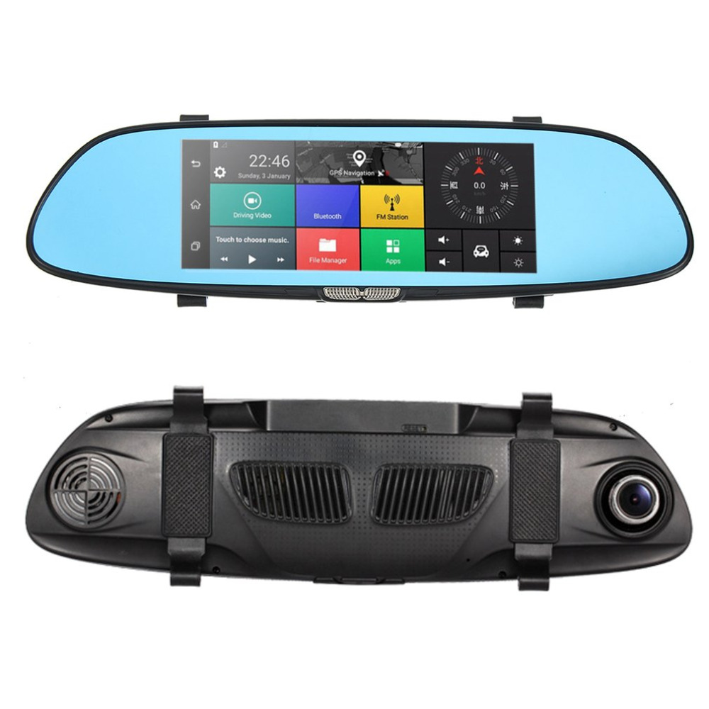 Blackview Auto HD 1080P 7 Inch Screen Display Video Recorder G-sensor Dash Cam Rearview Mirror Camera DVR Car Driving Recorder цена