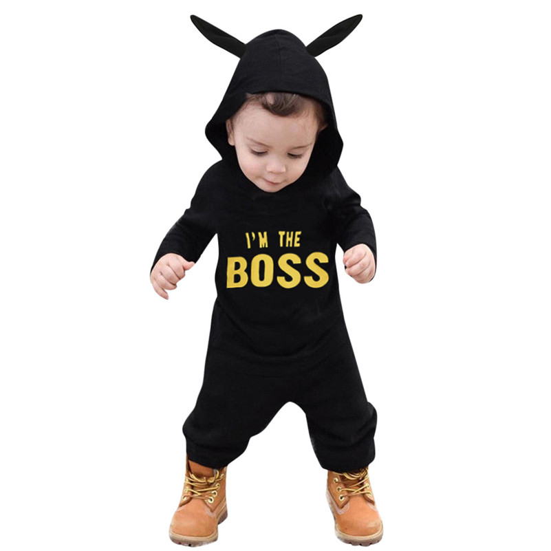 2018 New Style   Toddler Kids Baby Letter Boys Girls Hoodie Outfits Clothes Romper Jumpsuit vestido photography props C3 одежда на маленьких мальчиков