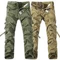2016New Hombres Pantalones Cargo del ejército verde negro decoración de grandes bolsillos Casual fácil lavado masculina otoño pantalones Overoles de Algodón pantalones para hombre