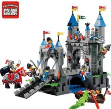 Enlighten 546pcs Castle Series Medieval Knight Castle Drawbridge Model Building Blocks Sets Minifigures Compatible With Legoe