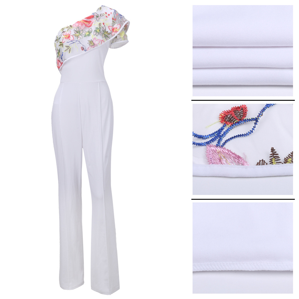 c1e467b45de9 Women Sexy One Shoulder Embroidery Jumpsuits Rompers Ladies Black Blue  Yellow Wide Leg Loose Night Club Fashion Jumpsuits-in Jumpsuits from Women s  Clothing ...