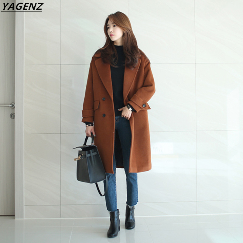 Winter Women Coat 2017 new Double-breasted Woolen Long Coat Long Sleeves Cozy Outerwear Warm Fashion Casual Jacket YAGENZ A107