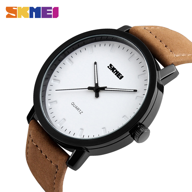 SKMEI Fashion Casual Design Quartz Watches Men Top Brand Leather Strap Waterproof Wristwatches Relogio Masculino 1196