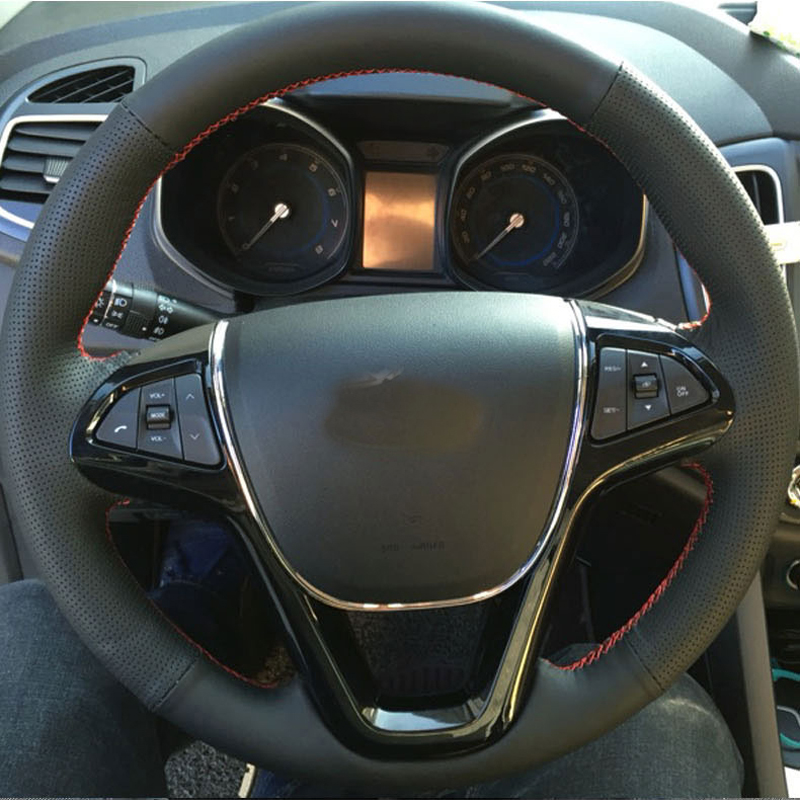 Free Shipping High Quality cowhide Top Layer Leather handmade Sewing Steering wheel covers protect For Chery Tiggo 5 Arrizo M7 in Steering Covers from Automobiles Motorcycles