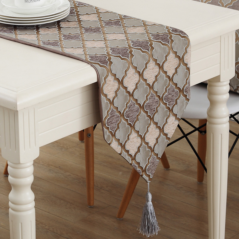 New European Style Vintage Coffee Grey Table Runner With Tassel Home Decor Bed runner 4 Size