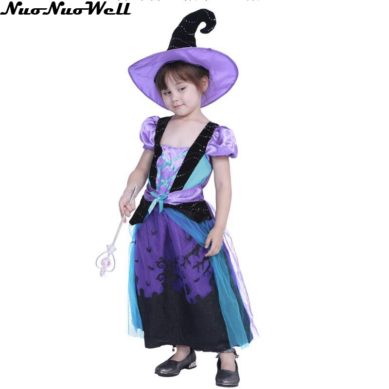 New Girl S Witch Costume Kids Purple Eleglant Witch Dress With Hat Clothes For Halloween Cosplay Party Costumes Girls Costumes Aliexpress