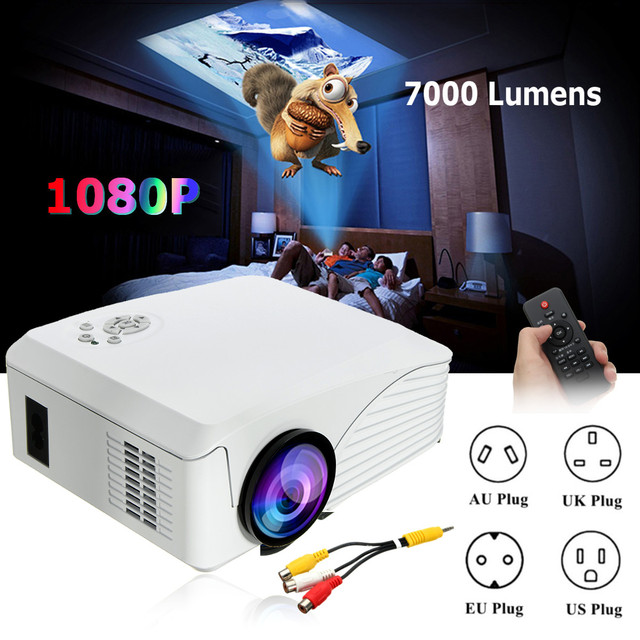 New Price Portable 7000 Lumens HD 1080P 3D Multimedia Projector LED Home Theater  USB With US Plug
