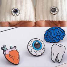 2017 Simple Personality Color Human Body Brooch Corsage Brain Eyes Dental Brooch Accessories Wholesale Cartoon Pin