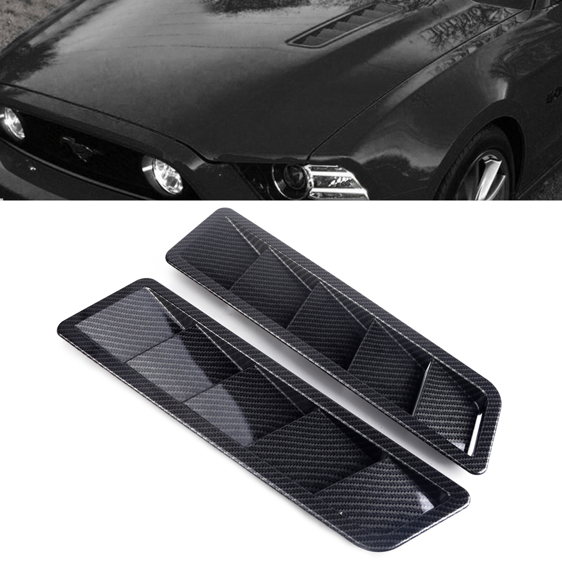 CITALL 2pcs Universal ABS Solid Carbon Fiber Style Car Hood Vent Louver Cooling Panel Trim Styling