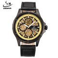 SHENHUA Brand Men Mechanical Watches Leather Band Automatic Self-wind Skeleton Wrist Watches For Men relogio masculino clock