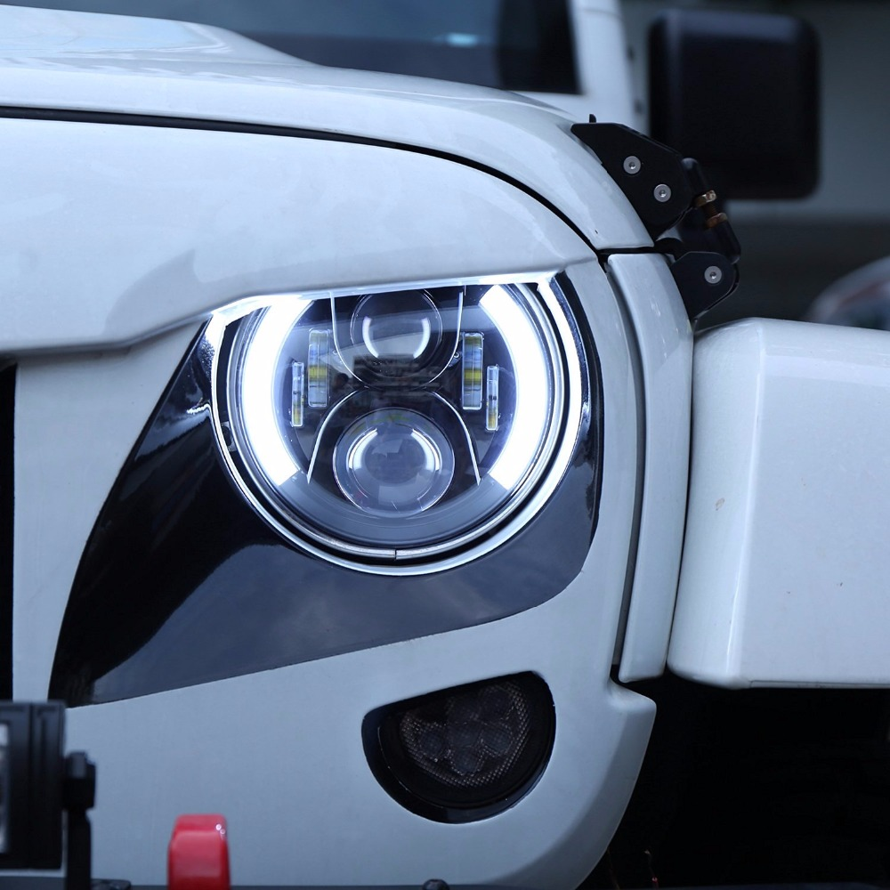 7 Round Led Headlight DRL /Amber Turn Light Hi/Lo Beam Fit Jeep Wrangler Willys Wheeler Rubicon Hummer Land Rover Defender