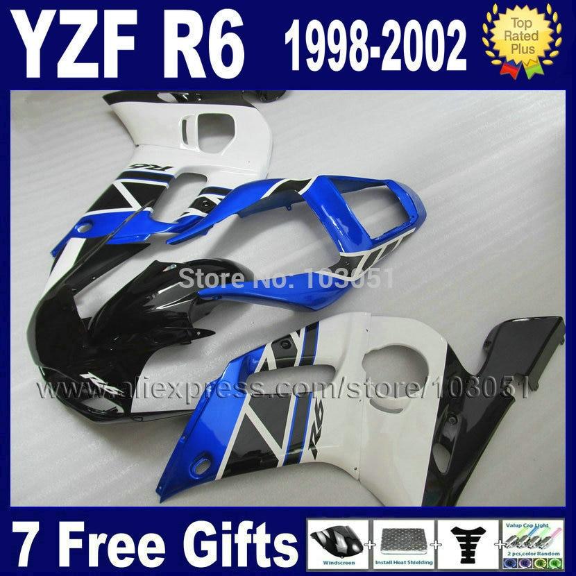 Custom Road racing motorcycle fairing for YAMAHA YZFR6 1998 1999 YZF600 02 01 00 99 98 YZF R6 2000 2001 2002 body fairings kit