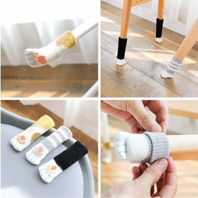 4Pcs / Set Cute Cat Paw Table Chair Knitted Foot Leg Cover  Good Scalability Non-Slip Wear Protector Socks