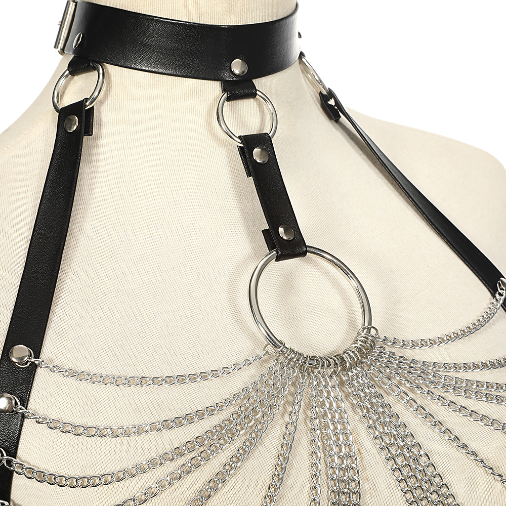 Goth Leather Body Harness Chain Bra Top Chest Waist Belt Witch Gothic Punk Fashion Metal Girl Festival Jewelry Accessories