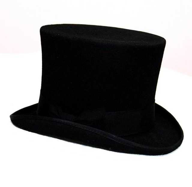 placeholder 8 Size Wool Men s Women s BalcK Teampunk Hat Top Hat Victorian  Traditional Fedoras Cap Millinery Magician 16995fd78d6