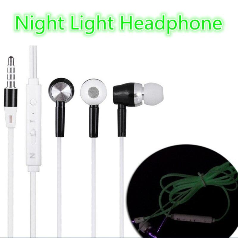 Headphone Glow Earphone Night Light Stereo Sport Headset with microphone Metal rock bass personality earpiece for PC smart phone