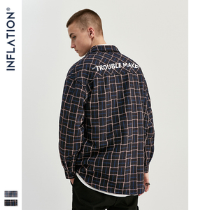Image 1 - Inflatie 2020 Herfst Klassieke Casual Shirt Mannen Plaid Shirt Lange Mouw Streetwear Mannen Katoen Vintage Shirt 92107W