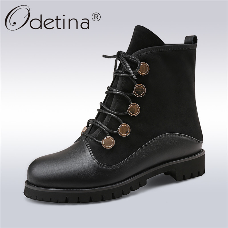 Odetina Fashion Genuine Leather Ankle Boots Flat Woman Round Toe Platform Lace Up  Boots Autumn Winter Casual Shoes Big Size 43 women s boots genuine leather ankle boots round toe lace up woman casual shoes with without fur autumn winter boots 568 6