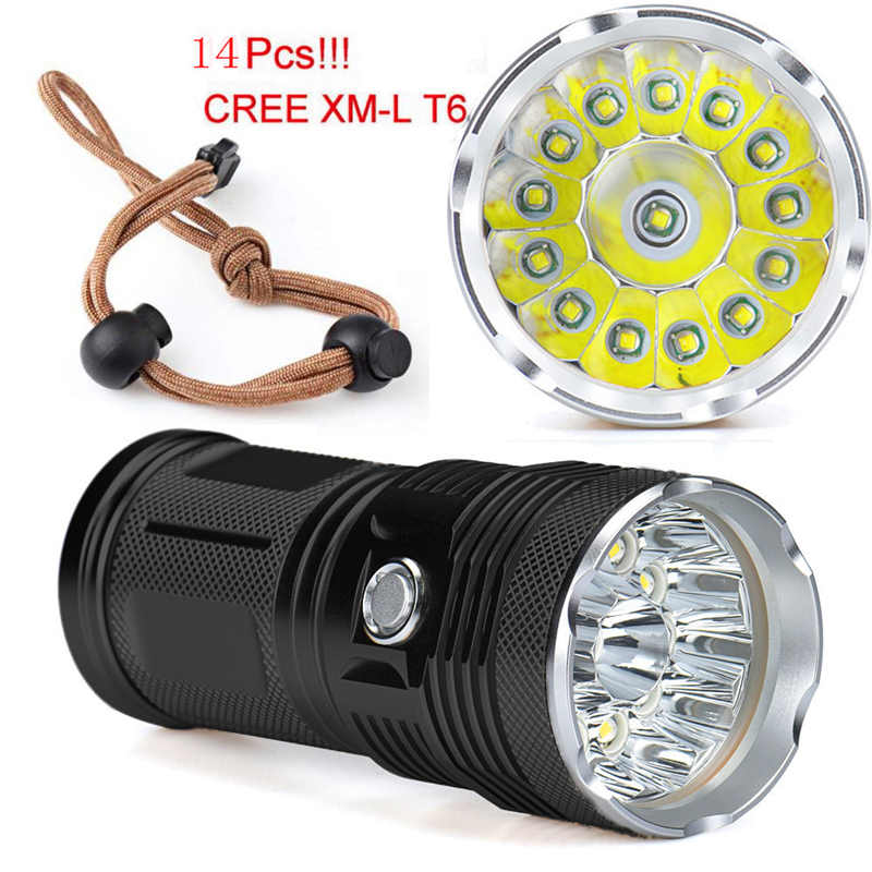 Super Bright 14x XM L T6 LED Flashlight Torch Hunting Light Lamp powerful led flashlight fanatic,use 18650 battery #3S25