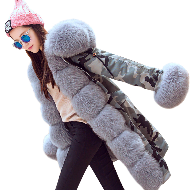 2017 Brand Long Camouflage Winter Jacket Women Outwear Thick Parkas For Female Natural Real Fox Fur Collar Coat Hooded Pelliccia plus size 2017 women outwear long camouflage winter jacket thick parkas raccoon natural real fur collar coat hooded pelliccia